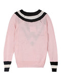 Pink Contrast Stripes and Deep V Neck Oversize Jumper - FIREVOGUE
