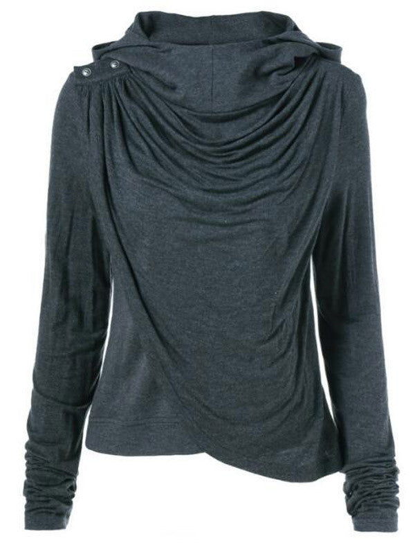 Wrapped Up Asymmetric Hooded Sweatshirt