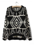 Retro Print Sweater - FIREVOGUE