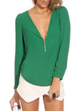 Zip Front and V Neck Chiffon Top - FIREVOGUE