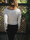 White Striped V Neck Shirt - FIREVOGUE