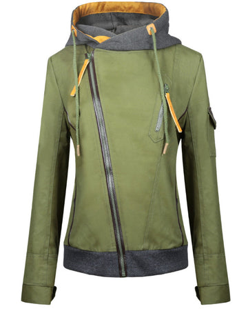 Diagonal Zip Up Front Hood Jacket - FIREVOGUE