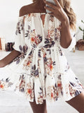 Off Shoulder Floral Printed Swing Dress - WealFeel