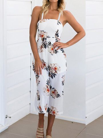Women Floral Wide Leg Rompers