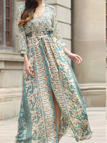 Split Ways Vintage Maxi Printed Dress