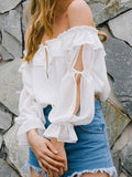 Off-the-Shoulder Princess Chiffon Blouse - WealFeel