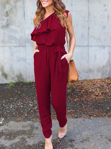 Single File One-Shoulder Jumpsuit