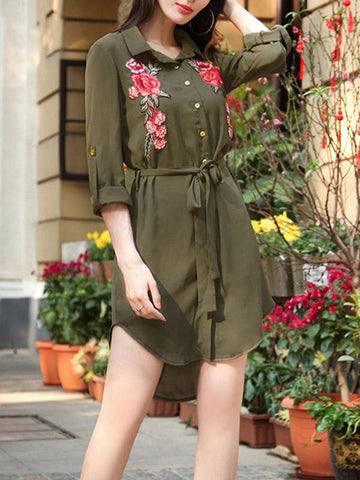 Women Chiffon Embroidery Shirt