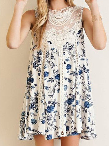 Sleeveless Chiffon Mini Lace Dress
