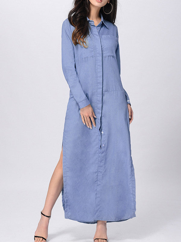 Blue Denim Shirt Collar Long Sleeve Slit Side Maxi Dress - WealFeel