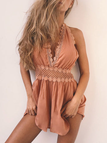 Women Halter Backless Romper