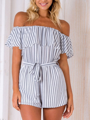 Ruffle Cold Shoulder Stripe Romper