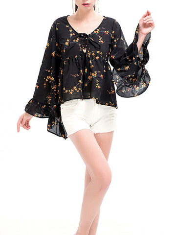 Open Secrets Bell Sleeve Daisy Top