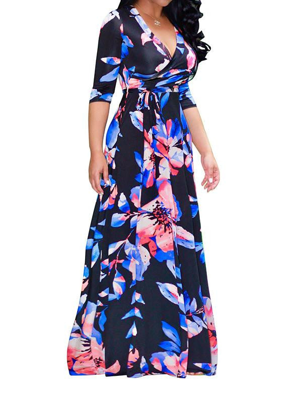 Women Wrap Floral Maxi Dress
