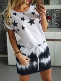 Short Sleeve Star Print Dress
