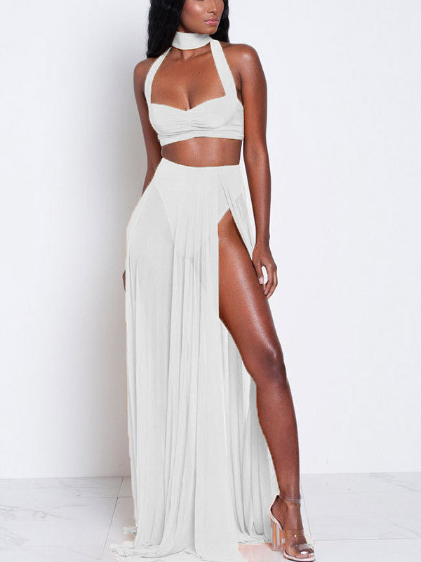 Sexy Summer Halter Slit 2 Piece Maxi Dress