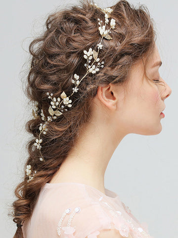 Golden Pearl Embellished Hair Jewelry