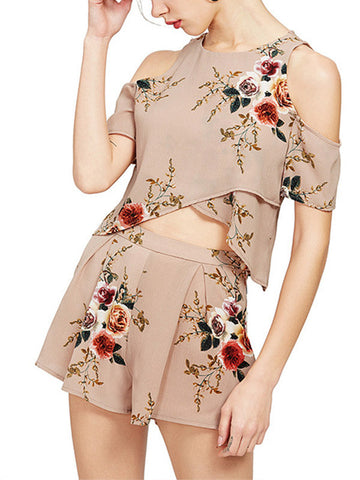 Floral Cold shoulder Top & Shorts - WealFeel