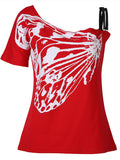 Women's Butterfly Print One Shoulder Casual Tops