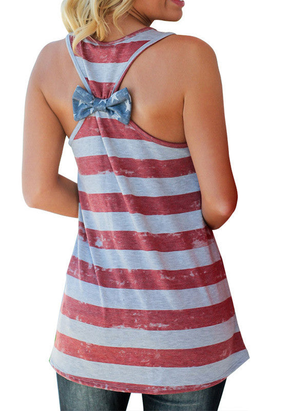 Women American Flag Print Back Bowknot Top - WealFeel