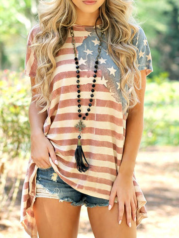 USA Flag Print Causal Top