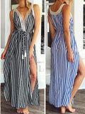 Out of Line Striped Side Slit Dress