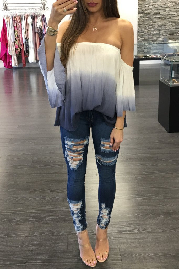Chic Off Shoulder Print Top