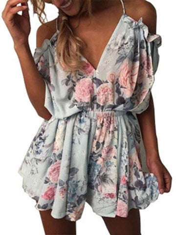 Summer Beach Cold Shouler Floral Short Romper