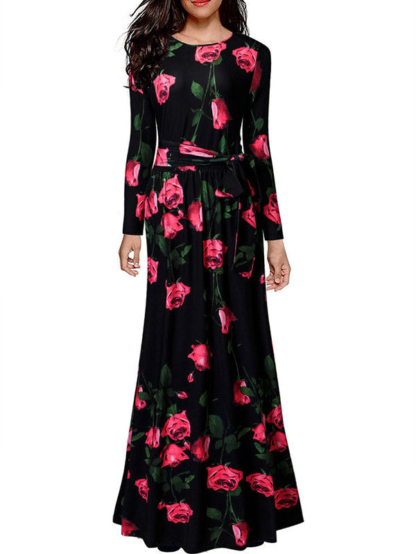 Pretty Red Rose Floral Dress