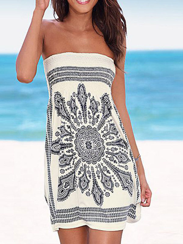 Women Bandeau Summer Vacation Dress
