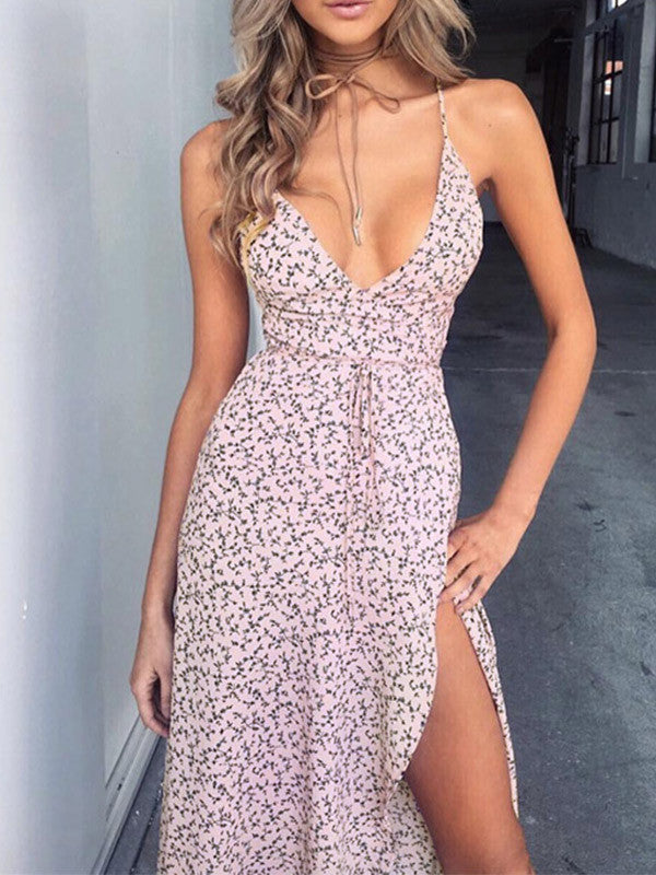Let's Hang Plunging Side Slit Dress