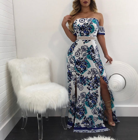 Sexy Off Shoulder Floral Side Slit Long Dress