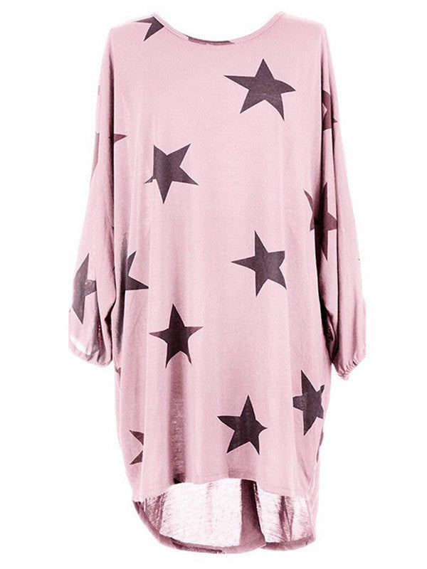 Women Star Print Loose Shirt Dress