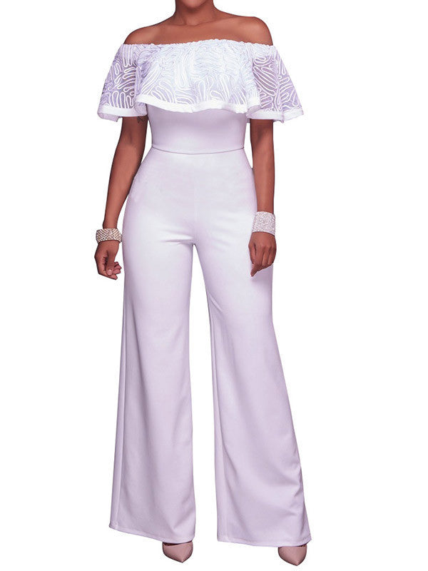 Women Off Shoulder Ruffle Long Wide Leg Rompers