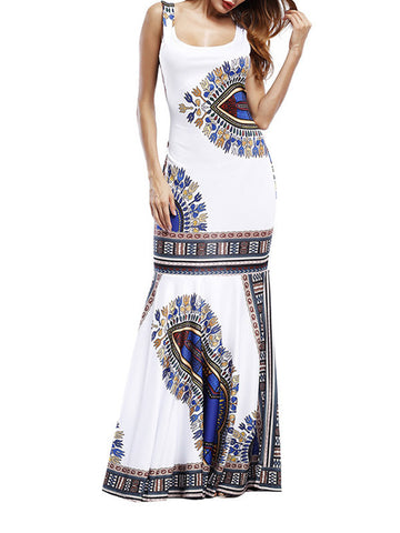 Women Sleeveless Print Beach Maxi Dress