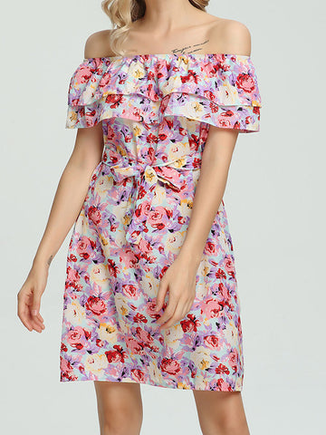 Off Shoulder Floral Print Mini Dress