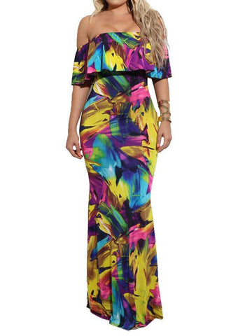 Women Off Shoulder Floral Maxi Dress