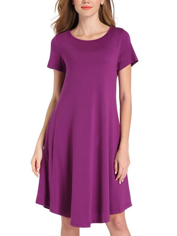 Women Pure Color Casual Dress