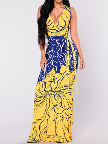 Put Me Out Plunging Printed Dress