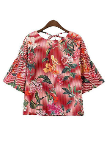 Women Back Tie Floral Top