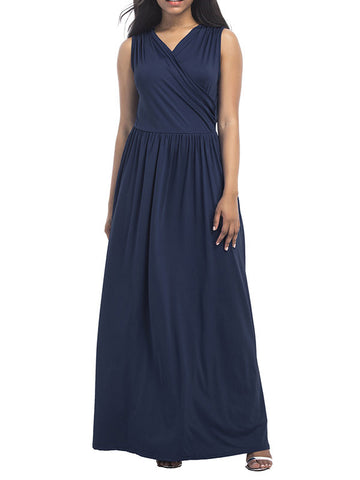 Pure and Easy Sleeveless V-neck Maxi Dress