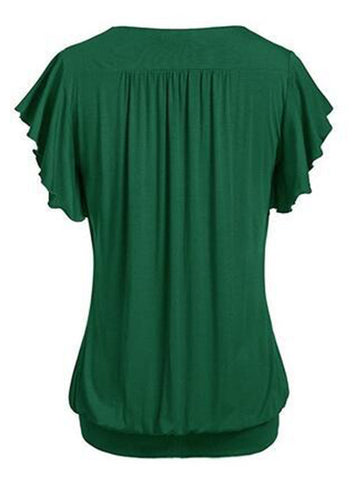 Ruffle Time V Neck Short Sleeve Shirt