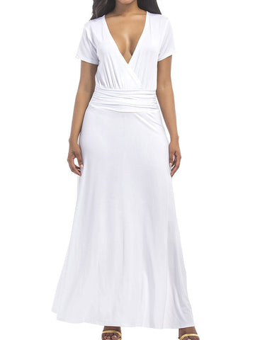 Plus Size Women V Neck Maxi Dress