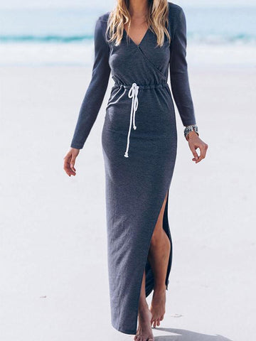 Women Long Sleeve Side Split Maxi Dress