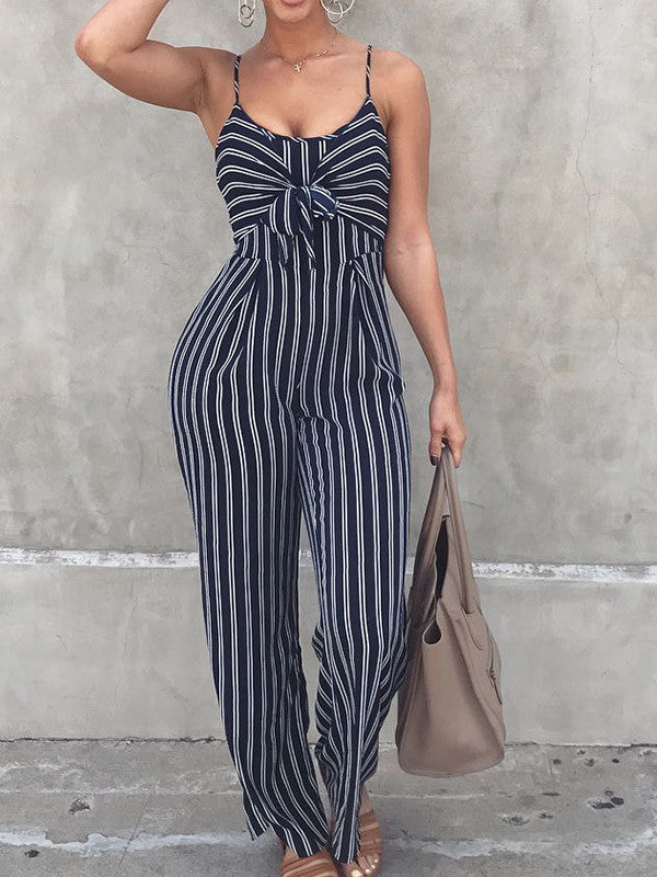 Lucky Stripe Bowknot Jumpsuit