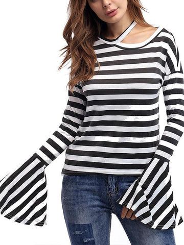 Women Horn Sleeve Casual Top