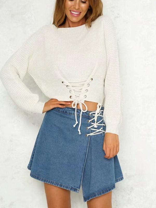 Women's Pure Color Lace Up Front Sweater