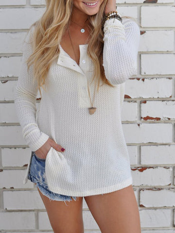 Clear as Day Button Knitted Top