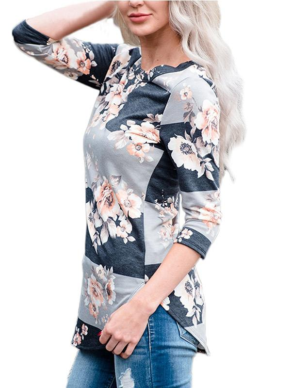 Women's Floral Print 3/4 Sleeve Top