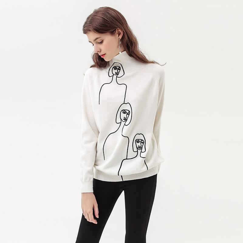 New Fashion Embroidery Pattern Head Lazy White Turtleneck Sweater